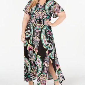 INC,  Paisley Smocked Maxi Dress